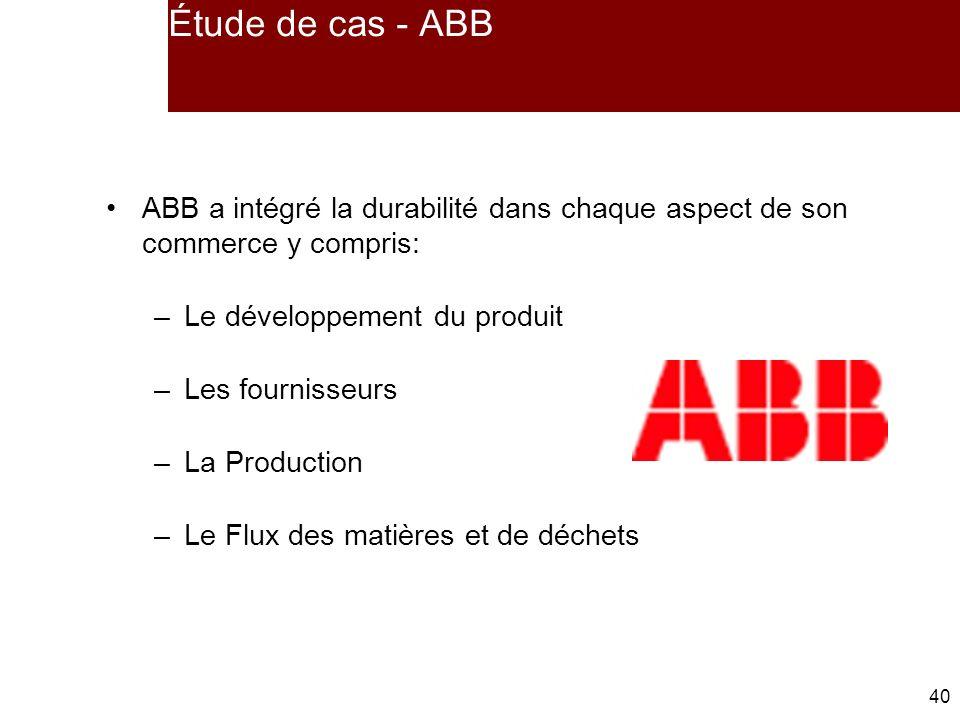 40 ABB a intégré la durabilité dans chaque aspect de son commerce y compris: –Le développement du produit –Les fournisseurs –La Production –Le Flux des matières et de déchets Étude de cas - ABB