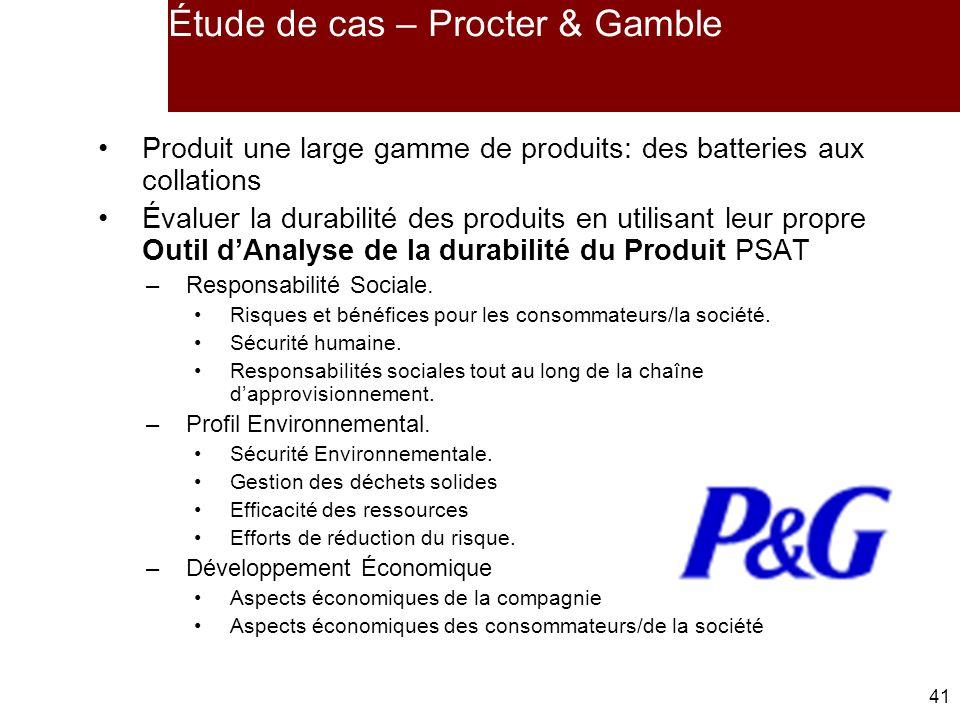 41 Étude de cas – Procter & Gamble Produit une large gamme de produits: des batteries aux collations Évaluer la durabilité des produits en utilisant leur propre Outil dAnalyse de la durabilité du Produit PSAT –Responsabilité Sociale.