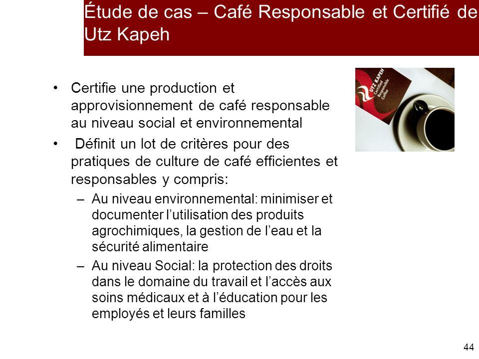 44 Étude de cas – Café Responsable et Certifié de Utz Kapeh Certifie une production et approvisionnement de café responsable au niveau social et environnemental Définit un lot de critères pour des pratiques de culture de café efficientes et responsables y compris: –Au niveau environnemental: minimiser et documenter lutilisation des produits agrochimiques, la gestion de leau et la sécurité alimentaire –Au niveau Social: la protection des droits dans le domaine du travail et laccès aux soins médicaux et à léducation pour les employés et leurs familles