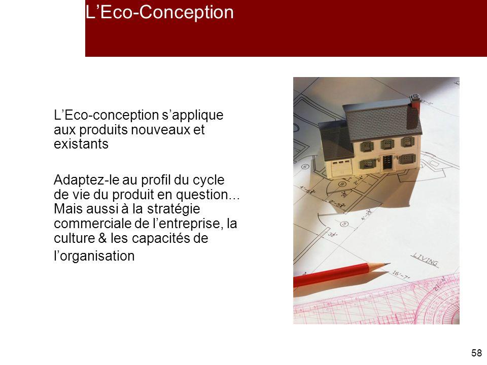 58 LEco-Conception LEco-conception sapplique aux produits nouveaux et existants Adaptez-le au profil du cycle de vie du produit en question...