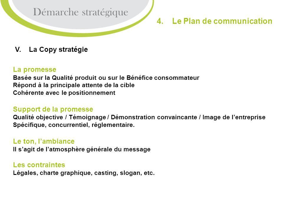 V. La Copy stratégie La promesse Basée sur la Qualité produit ou sur le Bénéfice consommateur Répond à la principale attente de la cible Cohérente ave