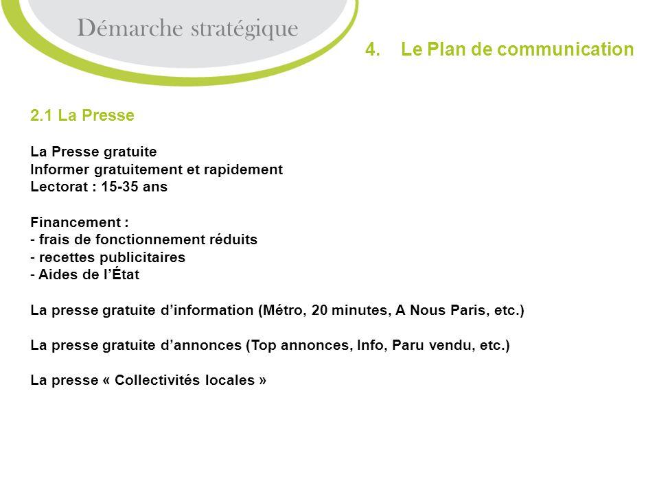 2.1 La Presse La Presse gratuite Informer gratuitement et rapidement Lectorat : 15-35 ans Financement : - frais de fonctionnement réduits - recettes p