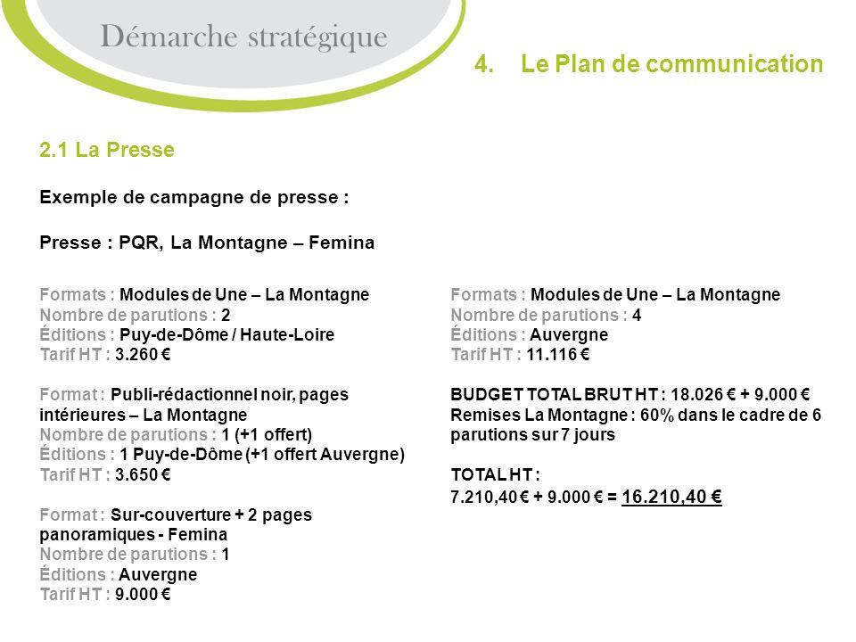 2.1 La Presse Exemple de campagne de presse : Presse : PQR, La Montagne – Femina Démarche stratégique 4. Le Plan de communication Formats : Modules de