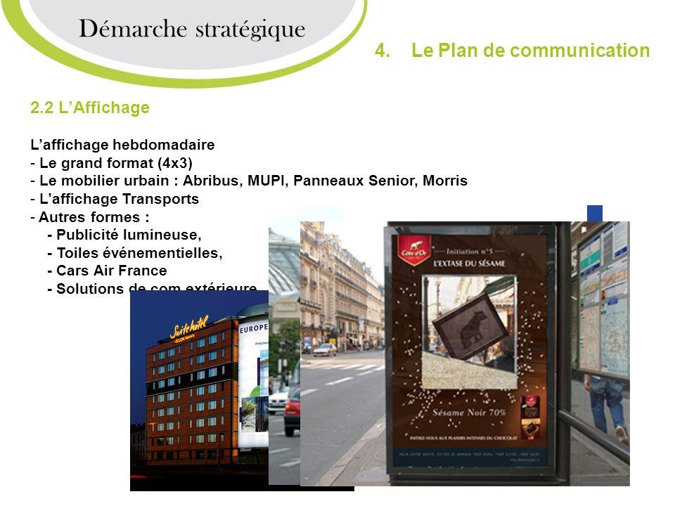 2.2 LAffichage Laffichage hebdomadaire - Le grand format (4x3) - Le mobilier urbain : Abribus, MUPI, Panneaux Senior, Morris - Laffichage Transports -