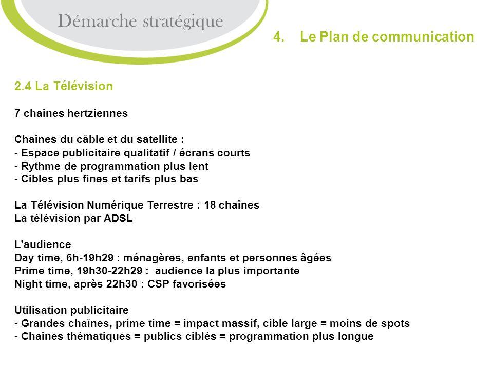 2.4 La Télévision 7 chaînes hertziennes Chaînes du câble et du satellite : - Espace publicitaire qualitatif / écrans courts - Rythme de programmation