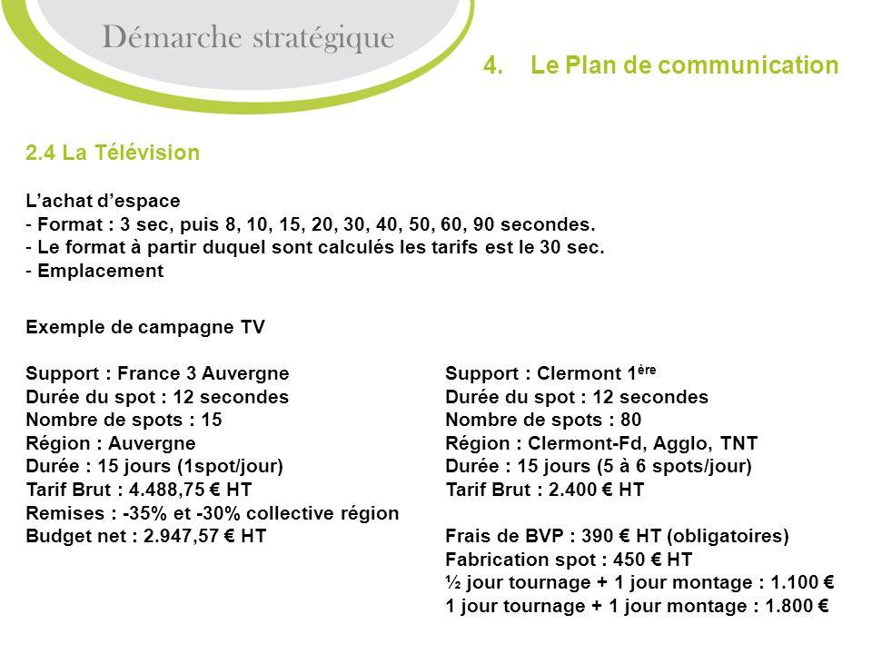 2.4 La Télévision Lachat despace - Format : 3 sec, puis 8, 10, 15, 20, 30, 40, 50, 60, 90 secondes. - Le format à partir duquel sont calculés les tari