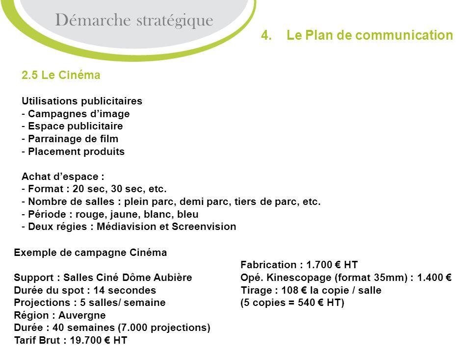 2.5 Le Cinéma Utilisations publicitaires - Campagnes dimage - Espace publicitaire - Parrainage de film lacement produits Achat despace : - Format : 20