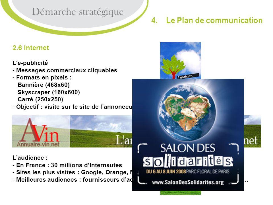 2.6 Internet Le-publicité - Messages commerciaux cliquables - Formats en pixels : Bannière (468x60) Skyscraper (160x600) Carré (250x250) - Objectif :