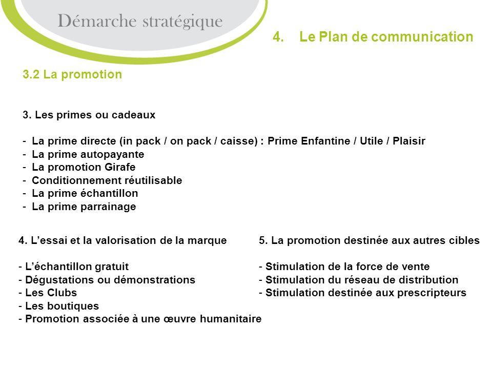 3.2 La promotion 3. Les primes ou cadeaux -L-La prime directe (in pack / on pack / caisse) : Prime Enfantine / Utile / Plaisir -L-La prime autopayante