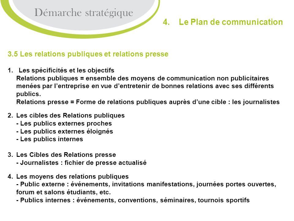3.5 Les relations publiques et relations presse 1. Les spécificités et les objectifs Relations publiques = ensemble des moyens de communication non pu