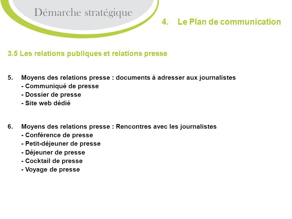 3.5 Les relations publiques et relations presse 5.Moyens des relations presse : documents à adresser aux journalistes - Communiqué de presse - Dossier