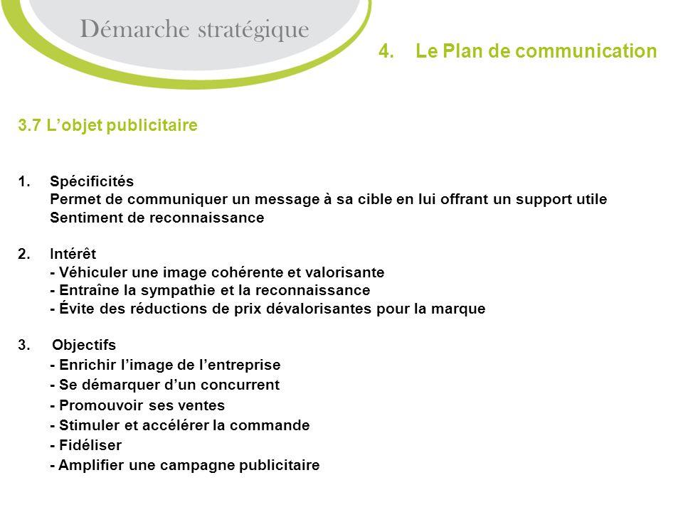 3.7 Lobjet publicitaire 1.Spécificités Permet de communiquer un message à sa cible en lui offrant un support utile Sentiment de reconnaissance 2.Intér