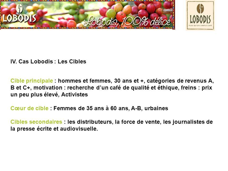 IV. Cas Lobodis : Les Cibles Cible principale : hommes et femmes, 30 ans et +, catégories de revenus A, B et C+, motivation : recherche dun café de qu