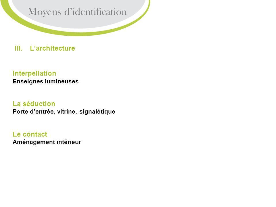 III. Larchitecture Interpellation Enseignes lumineuses La séduction Porte dentrée, vitrine, signalétique Le contact Aménagement intérieur Moyens diden