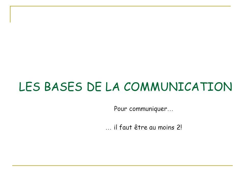 LES BASES DE LA COMMUNICATION Pour communiquer … … il faut être au moins 2!