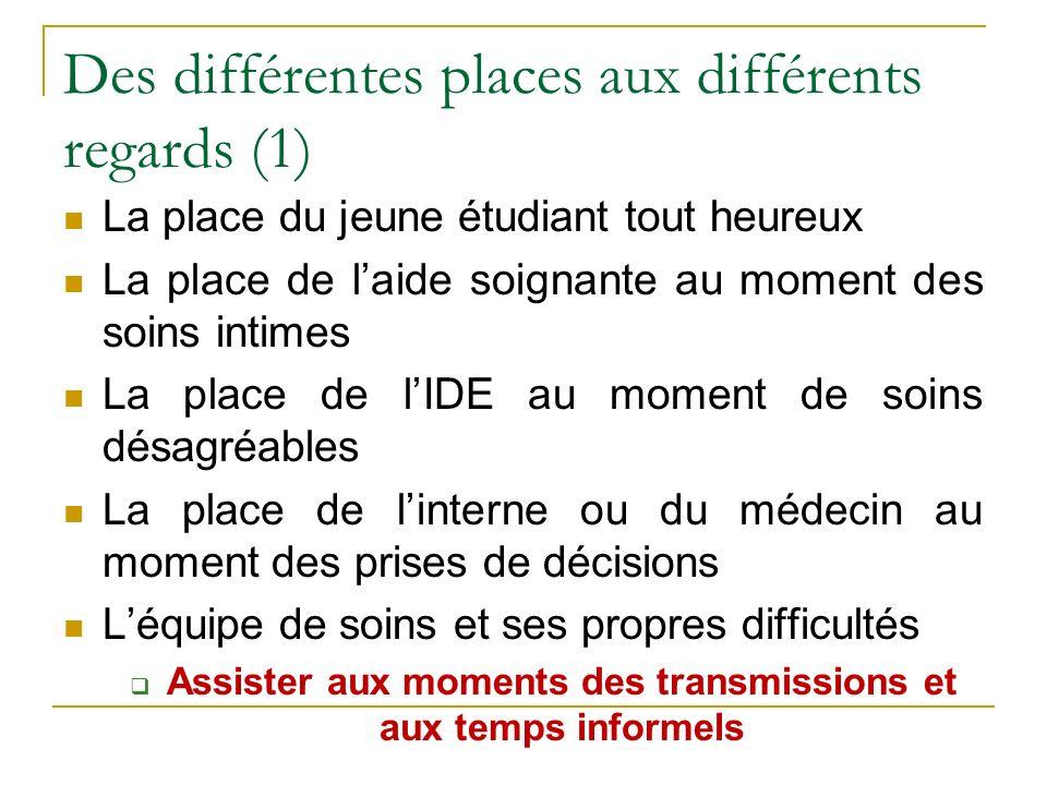 Des différentes places aux différents regards (2) Assister aux transmissions et aux temps informels (cafés, pauses...) Poser toutes les questions que vous avez .