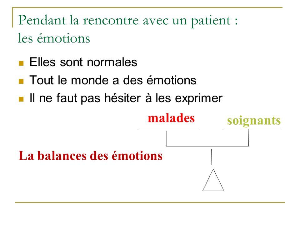 Pendant la rencontre avec un patient : les émotions Elles sont normales Tout le monde a des émotions Il ne faut pas hésiter à les exprimer malades soignants La balances des émotions