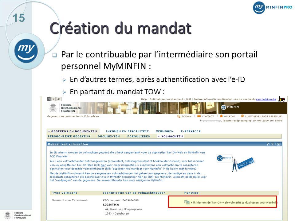 15 Création du mandat Par le contribuable par lintermédiaire son portail personnel MyMINFIN : En dautres termes, après authentification avec le-ID En