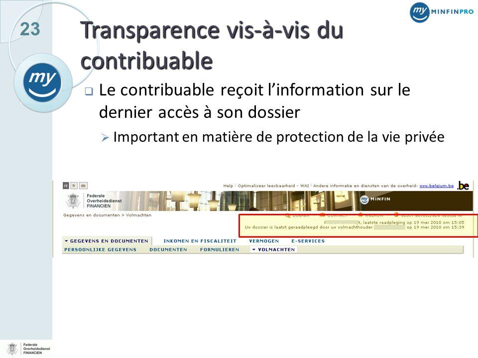 23 Transparence vis-à-vis du contribuable Le contribuable reçoit linformation sur le dernier accès à son dossier Important en matière de protection de