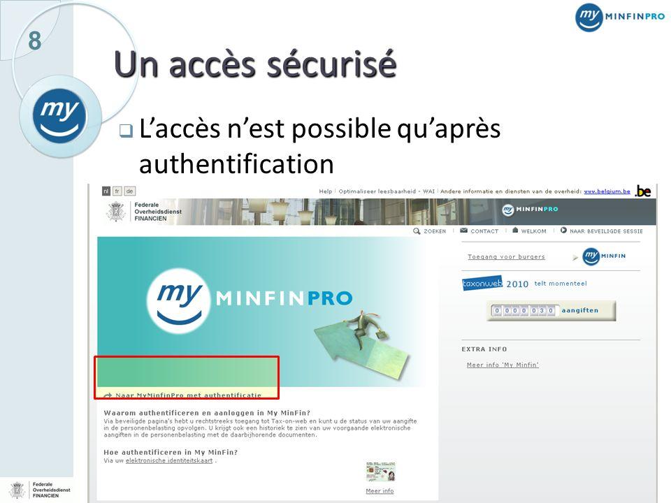 8 Un accès sécurisé Laccès nest possible quaprès authentification