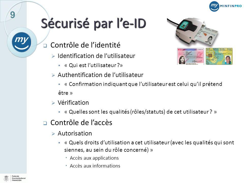 9 Sécurisé par le-ID Contrôle de lidentité Identification de lutilisateur « Qui est lutilisateur ?» Authentification de lutilisateur « Confirmation in