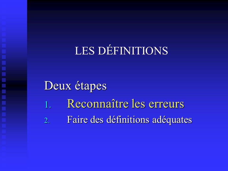 LES DÉFINITIONS Deux étapes 1. Reconnaître les erreurs 2. Faire des définitions adéquates