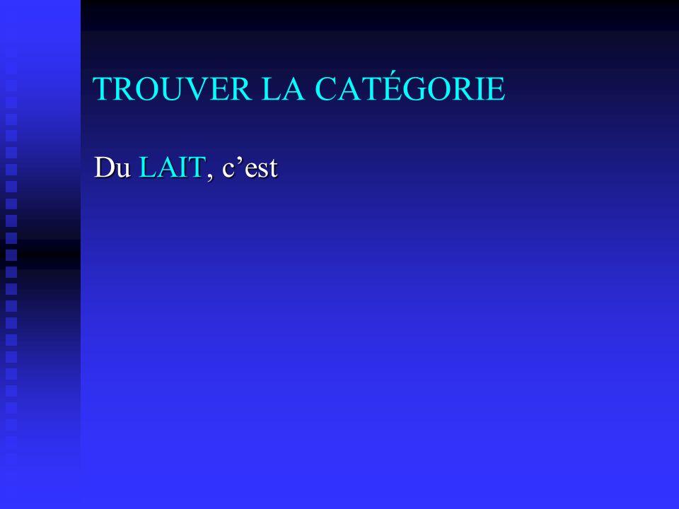 TROUVER LA CATÉGORIE Du LAIT, cest