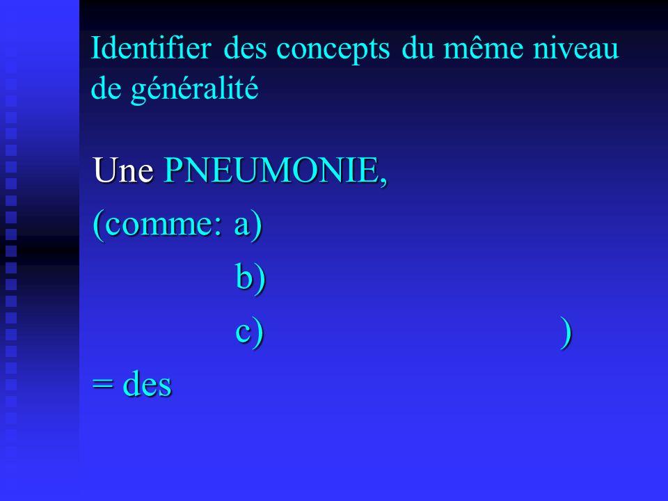Identifier des concepts du même niveau de généralité Une PNEUMONIE, (comme: a) b) b) c)) c)) = des