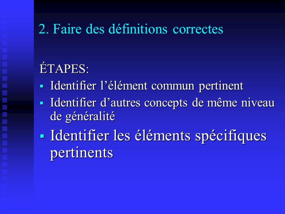 2. Faire des définitions correctes ÉTAPES: Identifier lélément commun pertinent Identifier lélément commun pertinent Identifier dautres concepts de mê