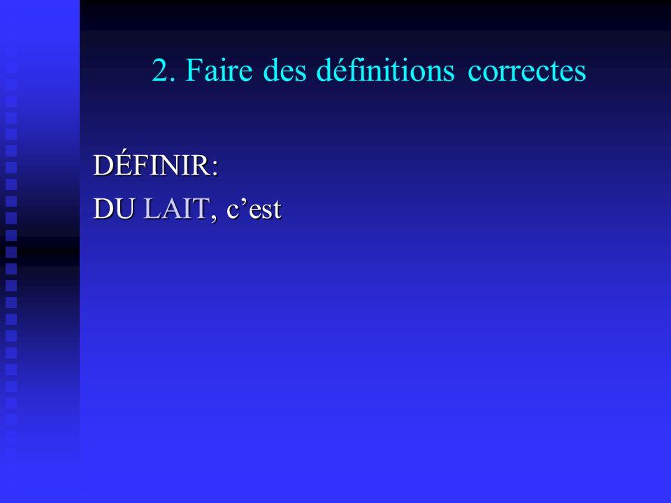 2. Faire des définitions correctes DÉFINIR: DU LAIT, cest