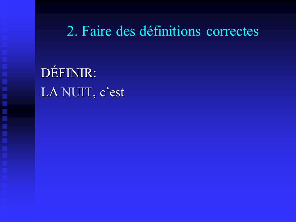 2. Faire des définitions correctes DÉFINIR: LA NUIT, cest