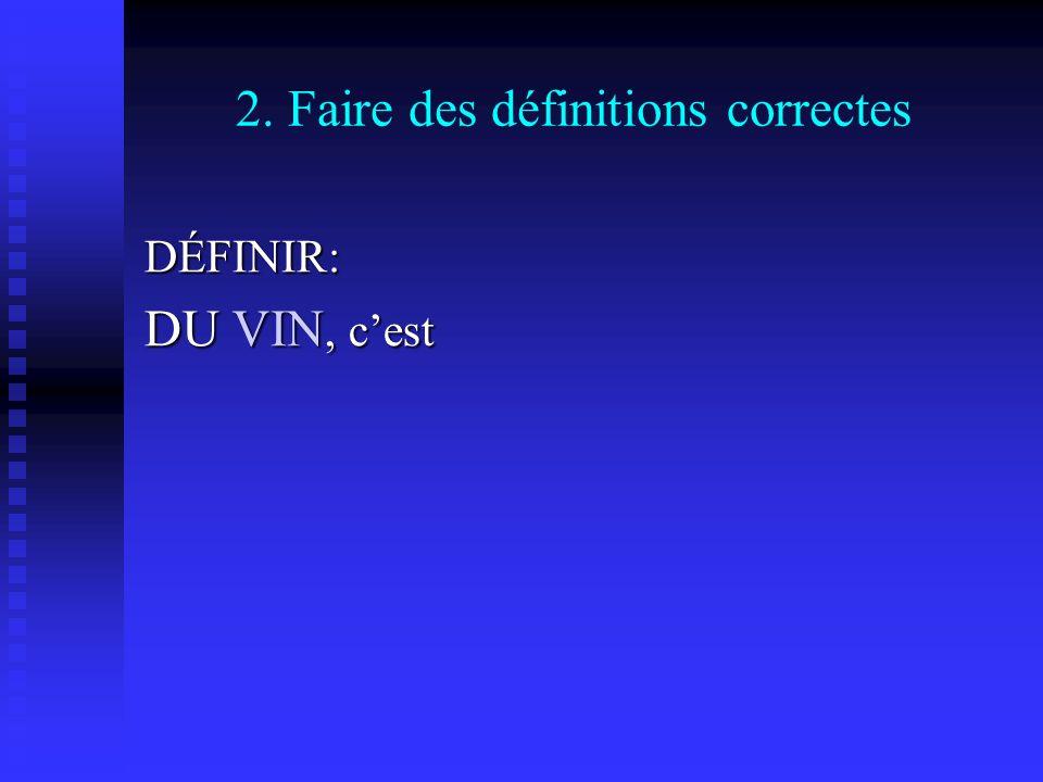2. Faire des définitions correctes DÉFINIR: DU VIN, cest