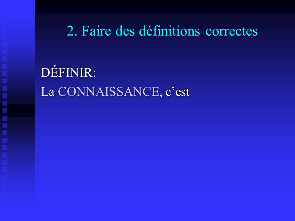 2. Faire des définitions correctes DÉFINIR: La CONNAISSANCE, cest