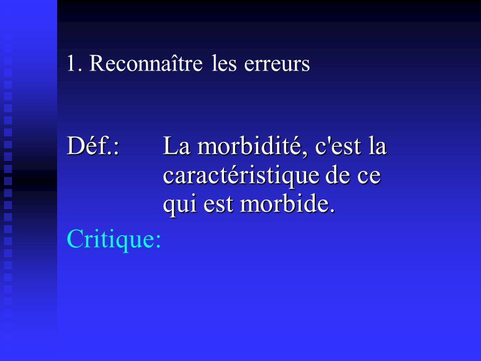 1. Reconnaître les erreurs Déf.: La morbidité, c est la caractéristique de ce qui est morbide.