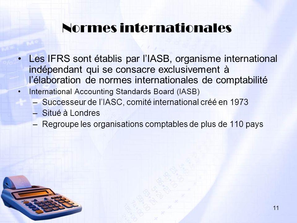 11 Normes internationales Les IFRS sont établis par lIASB, organisme international indépendant qui se consacre exclusivement à lélaboration de normes