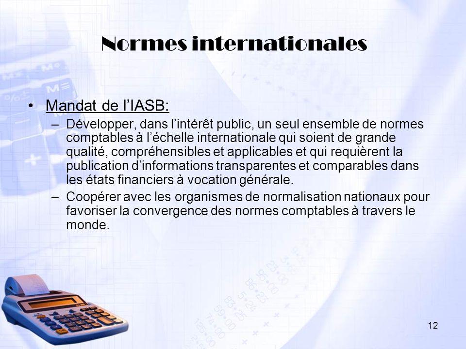 12 Normes internationales Mandat de lIASB: –Développer, dans lintérêt public, un seul ensemble de normes comptables à léchelle internationale qui soie