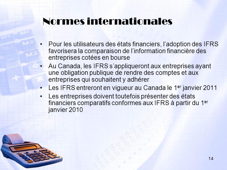 14 Normes internationales Pour les utilisateurs des états financiers, ladoption des IFRS favorisera la comparaison de linformation financière des entr