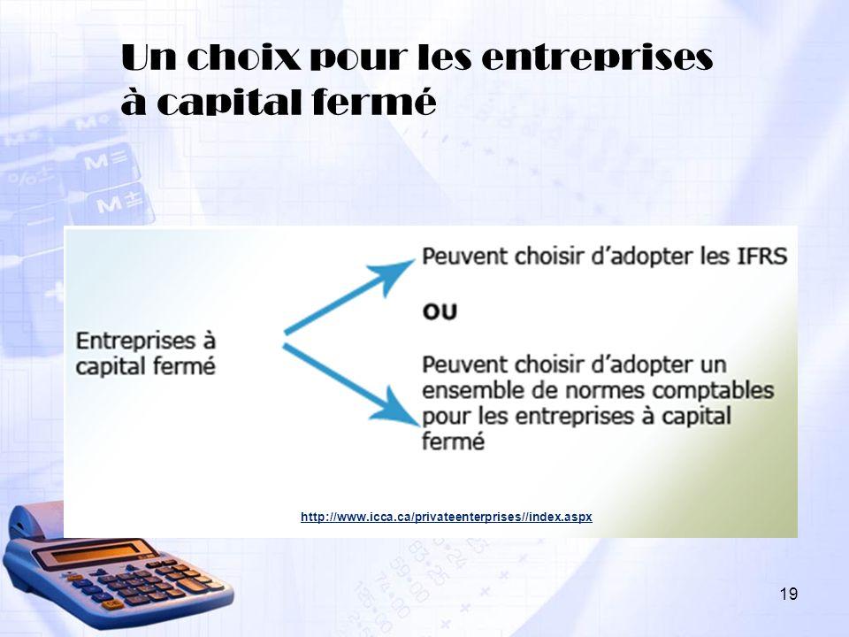 19 Un choix pour les entreprises à capital fermé http://www.icca.ca/privateenterprises//index.aspx