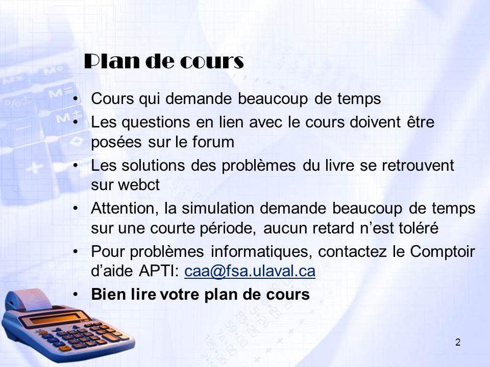 2 Plan de cours Cours qui demande beaucoup de temps Les questions en lien avec le cours doivent être posées sur le forum Les solutions des problèmes d