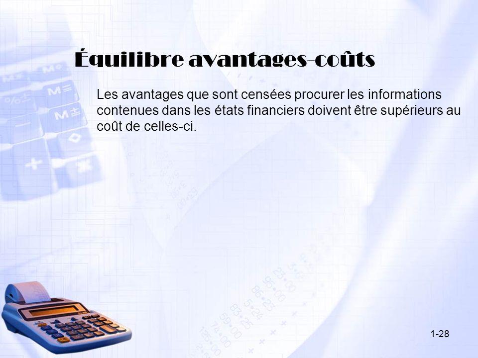 1-28 Équilibre avantages-coûts Les avantages que sont censées procurer les informations contenues dans les états financiers doivent être supérieurs au