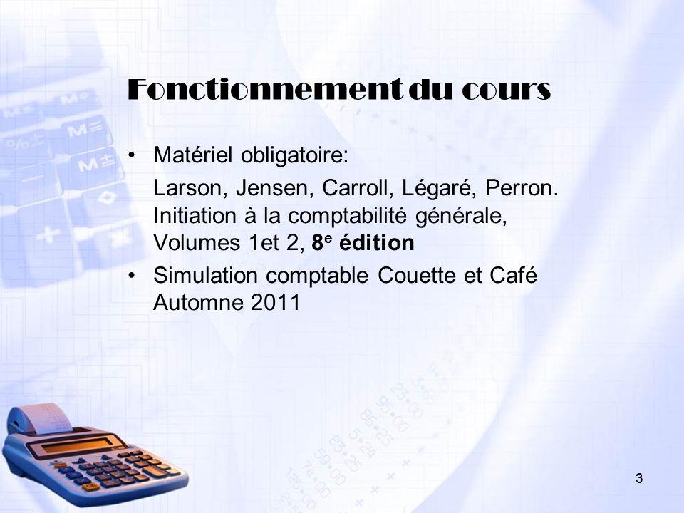 3 Fonctionnement du cours Matériel obligatoire: Larson, Jensen, Carroll, Légaré, Perron. Initiation à la comptabilité générale, Volumes 1et 2, 8 e édi