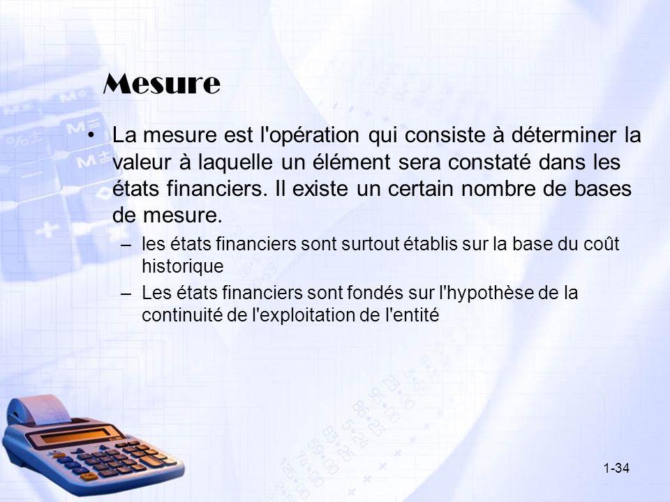Mesure La mesure est l'opération qui consiste à déterminer la valeur à laquelle un élément sera constaté dans les états financiers. Il existe un certa