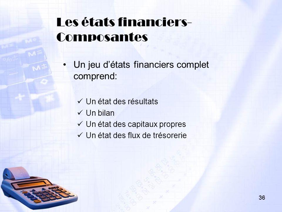 36 Les états financiers- Composantes Un jeu détats financiers complet comprend: Un état des résultats Un bilan Un état des capitaux propres Un état de