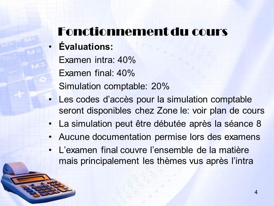 4 Fonctionnement du cours Évaluations: Examen intra: 40% Examen final: 40% Simulation comptable: 20% Les codes daccès pour la simulation comptable ser