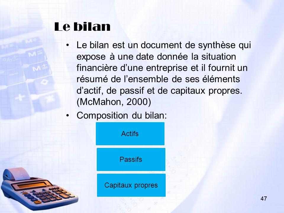 47 Le bilan Le bilan est un document de synthèse qui expose à une date donnée la situation financière dune entreprise et il fournit un résumé de lense