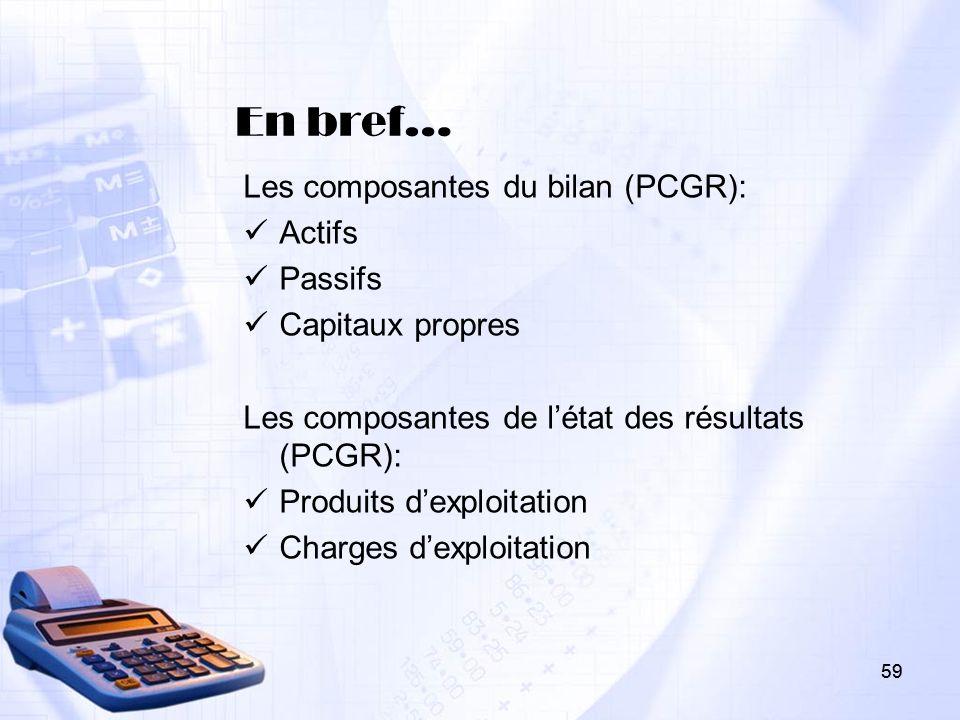 59 En bref… Les composantes du bilan (PCGR): Actifs Passifs Capitaux propres Les composantes de létat des résultats (PCGR): Produits dexploitation Cha