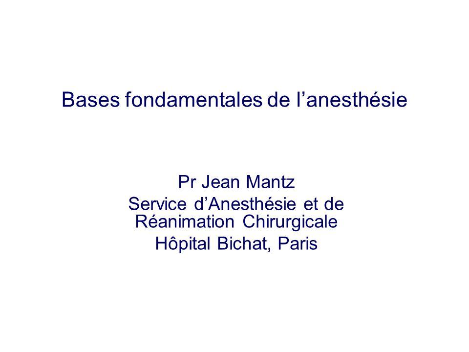 Bases fondamentales de lanesthésie Pr Jean Mantz Service dAnesthésie et de Réanimation Chirurgicale Hôpital Bichat, Paris