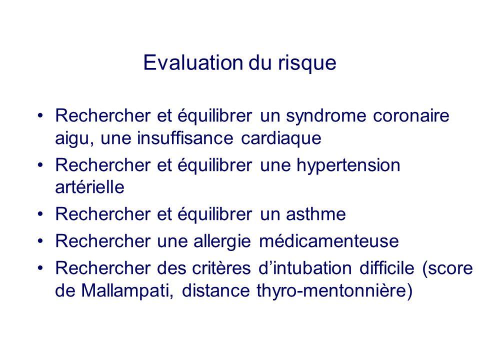 Evaluation du risque Rechercher et équilibrer un syndrome coronaire aigu, une insuffisance cardiaque Rechercher et équilibrer une hypertension artérie