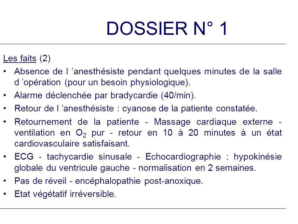 DOSSIER N° 1 Les faits (2) Absence de l anesthésiste pendant quelques minutes de la salle d opération (pour un besoin physiologique). Alarme déclenché