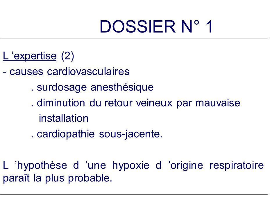 DOSSIER N° 1 L expertise (2) - causes cardiovasculaires. surdosage anesthésique. diminution du retour veineux par mauvaise installation. cardiopathie